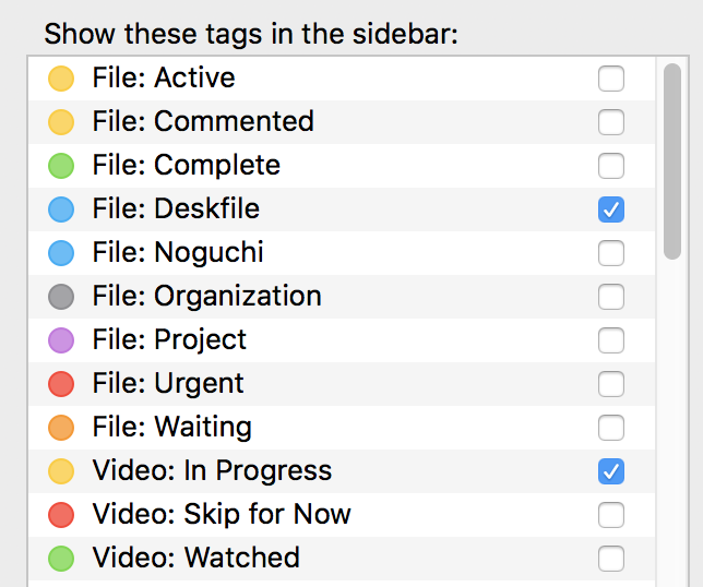 The tags I use, such as marking files as complete, active or urgent.