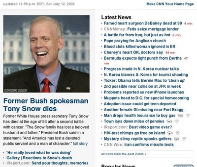 Screen shot of Tony Snow obit from CNN.com