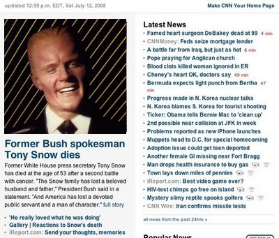 CNN.com shot altered to include picture of Max Headroom